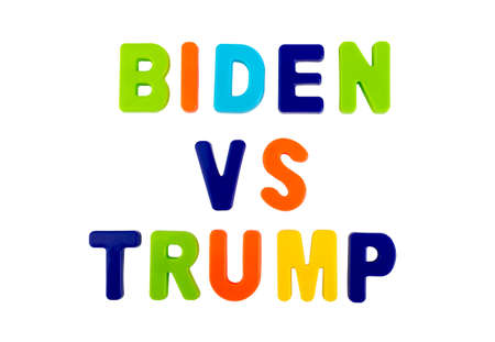 Who Will Become the New President of the United States? Trump or Biden? The names of the presidential candidates written in plastic letters on a white background. Concept for the electoral campaign.
