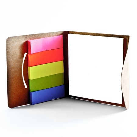 Frame made of office stickers isolated on white background.
