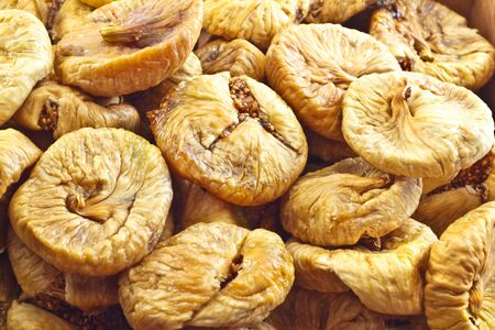 Close-up of heap of dried figs. Stock Photo