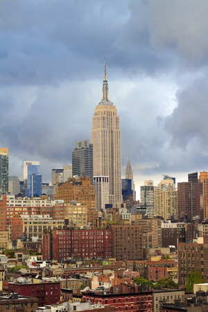 New York City skyline on cloudy day. View of Empire State building and Chrysler building.