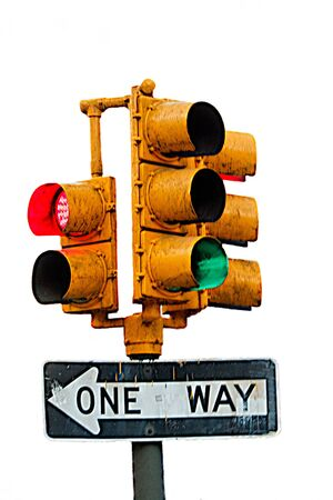 Traffic light and ONE WAY sign on white background.
