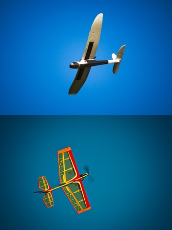 Radio controlled airplane model flying in mid air. Stock Photo