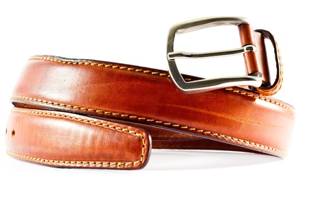 Brown leather belt, over white background.