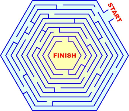 A hexagonal maze Can you get from start to finish  Illustration
