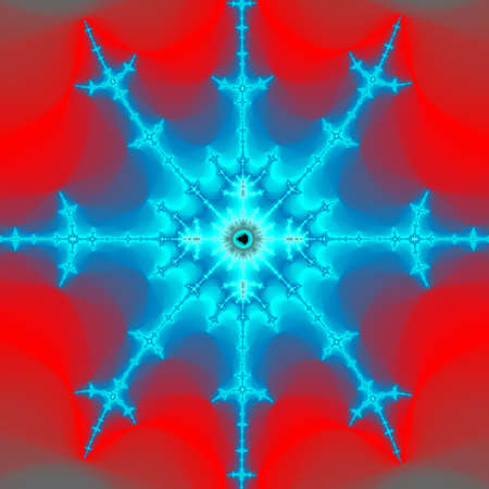Fractal art looking like snowflake on fire