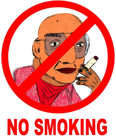 No smoking sign with illustration.
