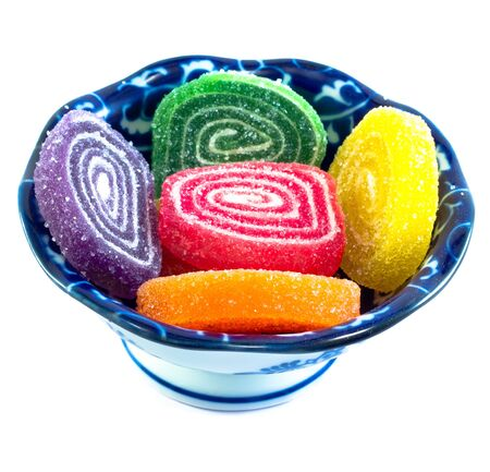 Colorful jelly - sugar sweets on white background. Stock Photo