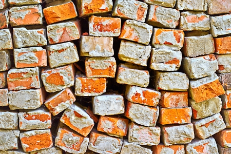 A close up of an old pile of bricks  Construction and Demolition - Recycling concept  Stock Photo
