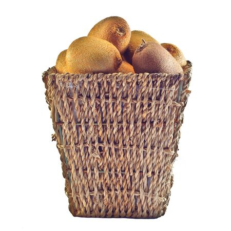 Kiwi basket on white background  Stock Photo