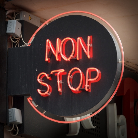 neon sign: Red NON STOP neon sign
