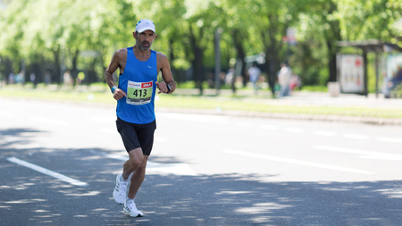 Belgrade, Serbia - April 21, 2018: Contender from Israel taking part in 31st Belgrade Marathon, a competition run of 21 and 42 km held in Belgrade.