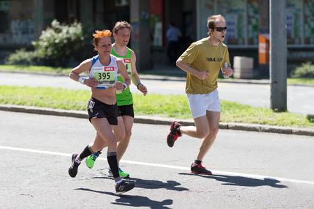 Belgrade, Serbia - April 21, 2018: Athletes taking part in 31st Belgrade Marathon
