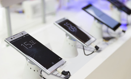 Belgrade, Serbia - May 05, 2018: New Sony Xperia XA2 Ultra, Smartphone is displayed with time and date on the screen in electronic store. Editorial