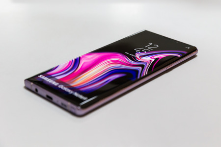 Belgrade, Serbia - August 14, 2018: New Samsung Galaxy Note 9 smartphone is displayed on isolated white background.