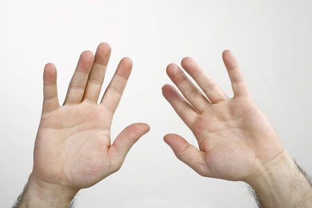 arm up: Two Man hands isolated