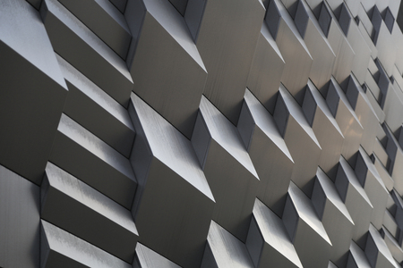 metal wall: 3d metal wall with curves in the shadows Stock Photo