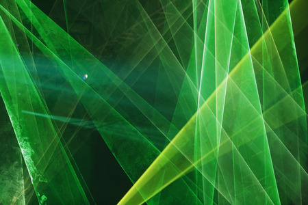 Abstract Colourful green laser show light in night Stok Fotoğraf