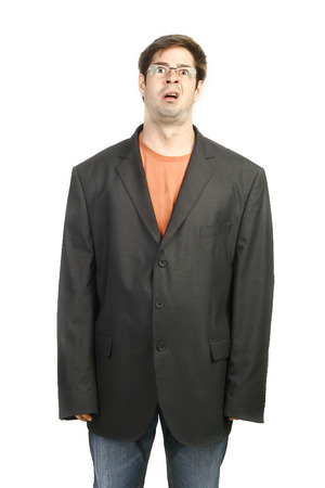 armpits: Man in Baggy Business Suit Stock Photo