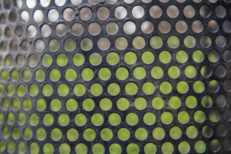 Abstract lines and metal mesh Pattern green grass background in nature outside