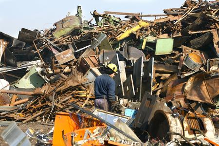junkyard: Loads of metal waste on the junkyard , to be recycled