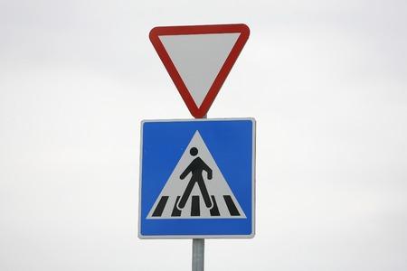 one lane street sign: Traffic sign for pedestrian  zebra crossing