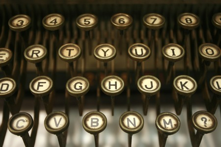 old letters: old typing machine has and letters