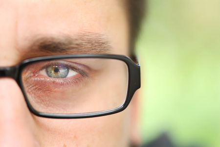 only man: Only One Green Man Eye With Eyeglass for ad