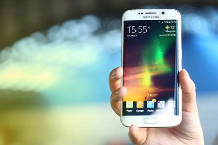samsung galaxy: Belgrade, Serbia - May 16, 2015: Illustrative Mobile phone White Pearl  Samsung Galaxy 6 EDGE With curved glass and metal with 16 mp Camera.