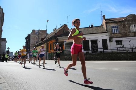 belgrade: SERBIA, BELGRADE - APRIL 16, 2016: Runners in 29th Belgrade Marathon. Participants of Traditional marathon in Belgrade with more than 4500 runners on streets.