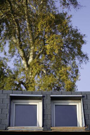 attic: Summer sun reflection on attic windows. Vertical.