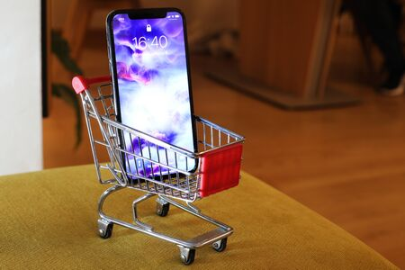 BELGRADE ,SERBIA - JANUARY 08, 2018: Newest Smartphone Iphone X or another name 10, ten in small shopping cart Redakční