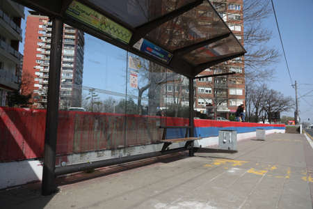 BELGRADE, SERBIA - MARCH 28, 2020: Empty bus station. As the Corona Virus continues to spread all over Serbia, government imposed curfew to prevent the spread of coronavirus disease, during the day  people can only go outside for existential things such a
