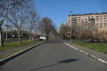 BELGRADE, SERBIA - APRIL 05, 2020: Empty streets during curfew of 40 hours was imposed in Serbia over the weekend to curb the spread of Corona virus Covid-19.