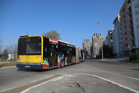 BELGRADE, SERBIA - APRIL 05, 2020: Temporary bus line around town during curfew of 40 hours was imposed in Serbia over the weekend to curb the spread of Corona virus Covid-19.