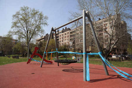 BELGRADE, SERBIA - MARCH 28, 2020: Empty playground. As the Corona Virus continues to spread all over Serbia, government imposed curfew to prevent the spread of coronavirus disease.