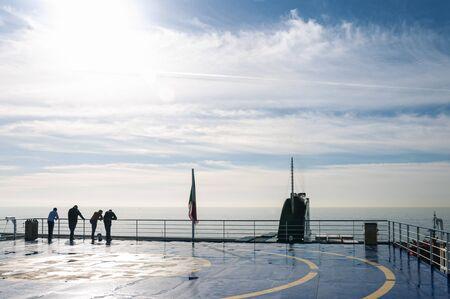 Image of the deck of a blacklit ship crossing the Mediterranean Sea Archivio Fotografico