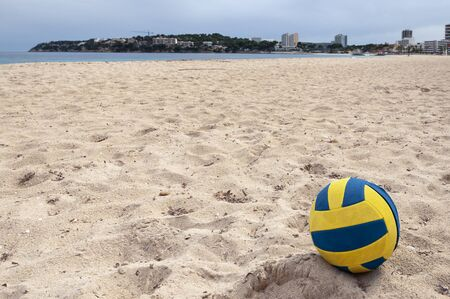 Abandoned beach volleyball on the beach in Magaluf. Quarantine caused by the Coronavirus crisis