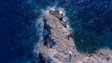 Aerial view of the Malgrats Islands from the Island of Mallorca with waves from the Mediterranean Sea. Balearic Islands, Spain