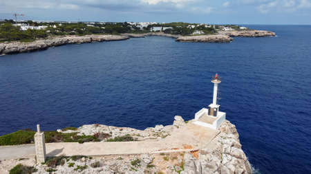 Aerial view of Portopetro lighthouse. Island of Mallorca, Balearic Islands, Spain