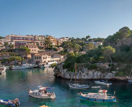 Port of Cala Figuera with typical Majorcan noats moored. Mallorca island, Mediterranean Sea, Spain