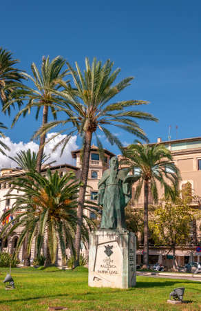 Palma de Mallorca, Balearic Islands / Spain; September 2020: bronze sculpture by the philosopher Ramon Llull, located in the historic center of Palma, island of Mallorca