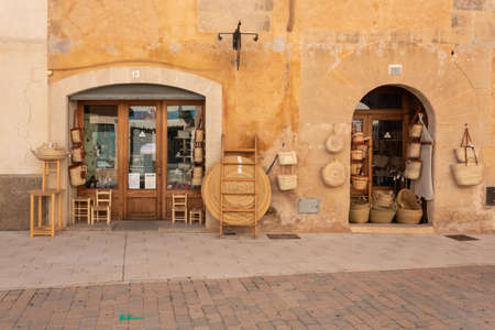 Campos, Balearic Islands / Spain; october 2020: wicker craft store typical of the island of Mallorca. Showcase of different wicker bags