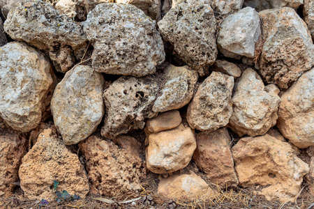 Wall made with stones and without cement, typical of the rural areas of the island of Mallorca, Spain