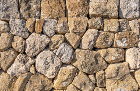 Wall made with stones and without cement, typical of the rural areas of the island of Mallorca, Spain Stok Fotoğraf - 159187896