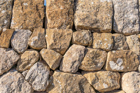Wall made with stones and without cement, typical of the rural areas of the island of Mallorca, Spain Stok Fotoğraf - 159478485