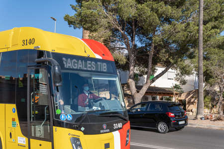Campos, Balearic Islands / Spain; November 2020: bus of line of the island of Majorca that unites the towns with the capital. Bus driver in the town of Campos. Driver with face mask Stok Fotoğraf - 159693470