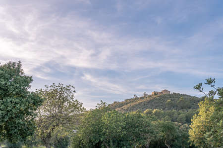 Montision Monastery on top of the mountain in a sunset in the interior of the island of Mallorca, Spain