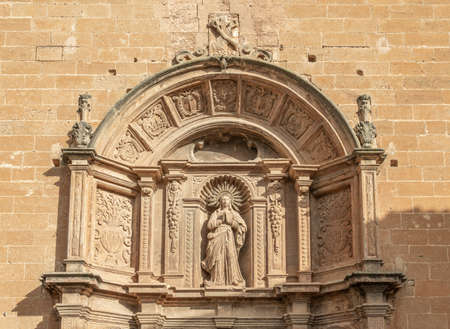 Christian religious sculpture from the entrance of the Convent of Sant Bonaventura, Llucmajor, island of Mallorca, Spain