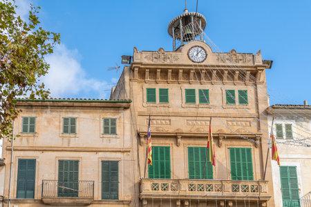 Llucmajor, Spain; December 17 2020: facade of the Llucmajor town hall at Chrstmas time on a sunny day Editöryel