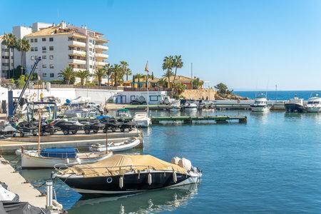 Palmanova, Spain; February 20 2021: general view of the marina of the Mallorcan resort of Palmanova on a sunny day Editöryel